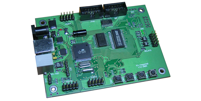 Плата AS-megaUSB, микроконтроллер Atmel ATmega128A
